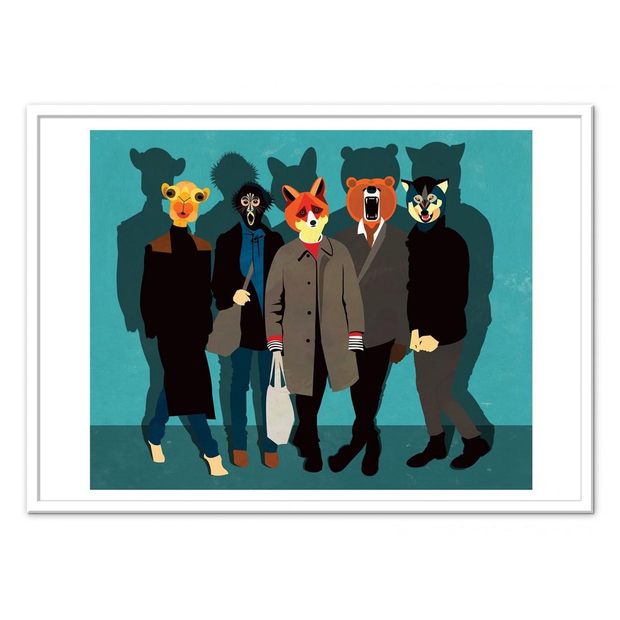 illustration art poster frame paint graphic of a gang of animals. Black Bedroom Furniture Sets. Home Design Ideas