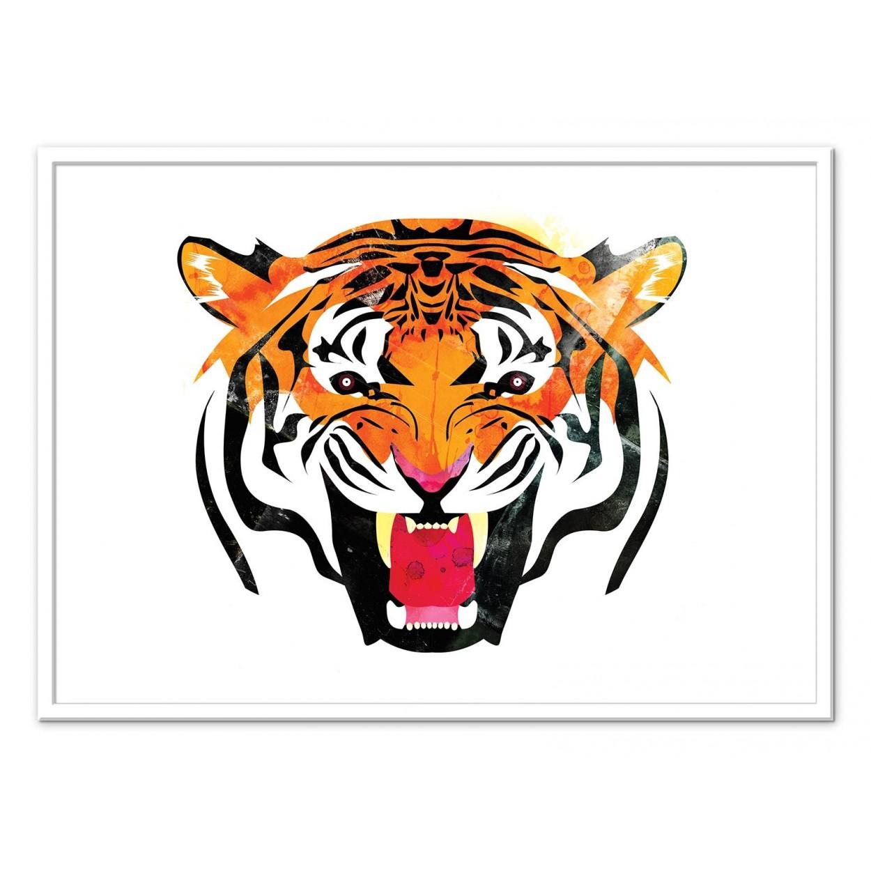 illustration art poster frame paint graphic portrait tiger animal. Black Bedroom Furniture Sets. Home Design Ideas