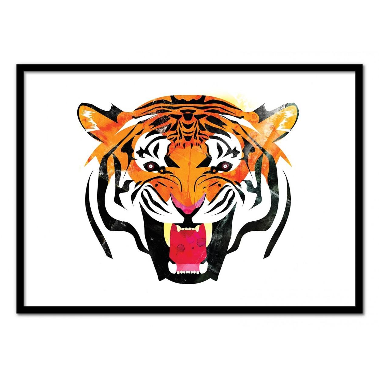 affiche d 39 art poster illustration portrait tigre animal. Black Bedroom Furniture Sets. Home Design Ideas