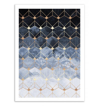 Art-Poster 50 x 70 cm - Blue Hexagons Diamonds - Elisabeth Fredriksson