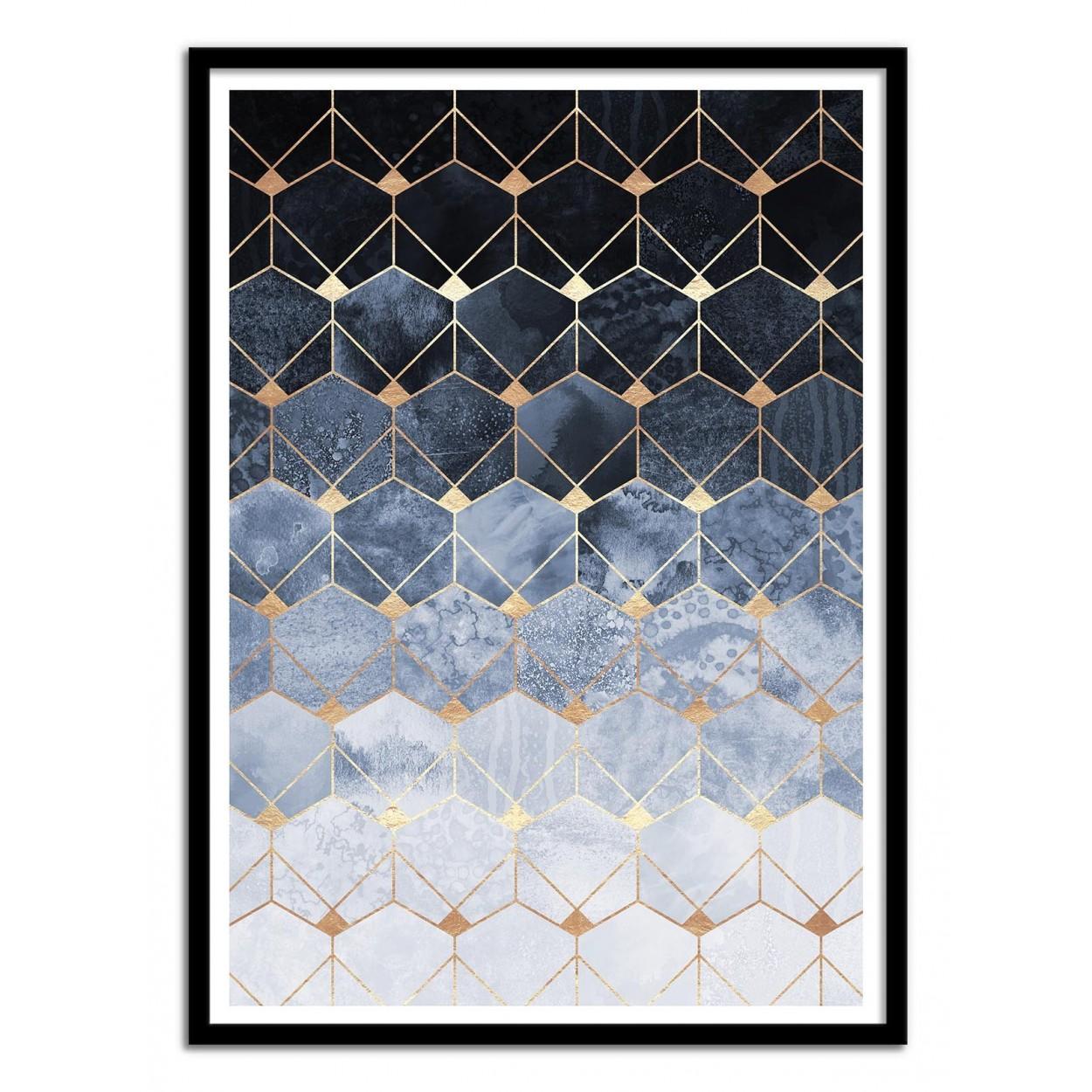 Poster design 50x70 -  Art Poster 50 X 70 Cm Blue Hexagons Diamonds Elisabeth Fredriksson