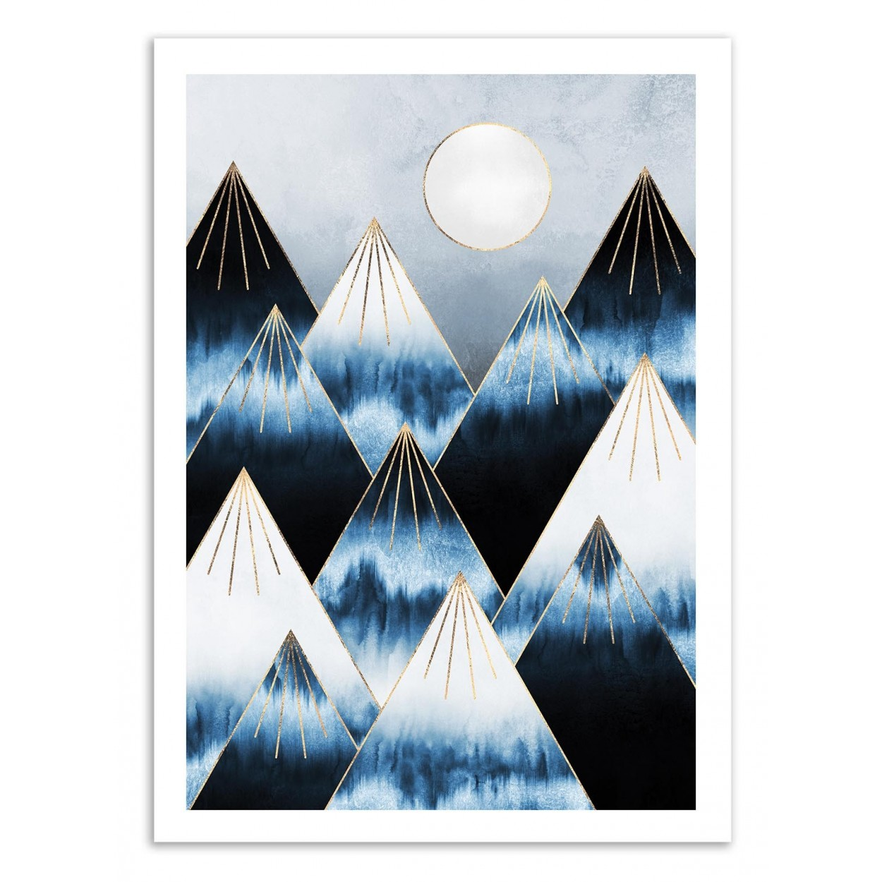 affiche d 39 art tableau poster design illustration de montagnes neige. Black Bedroom Furniture Sets. Home Design Ideas