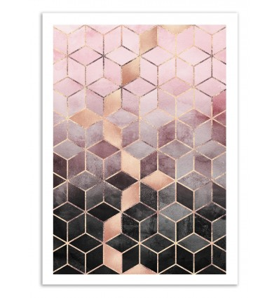 Art-Poster 50 x 70 cm - Pink Grey Gradient Cubes - Elisabeth Fredriksson