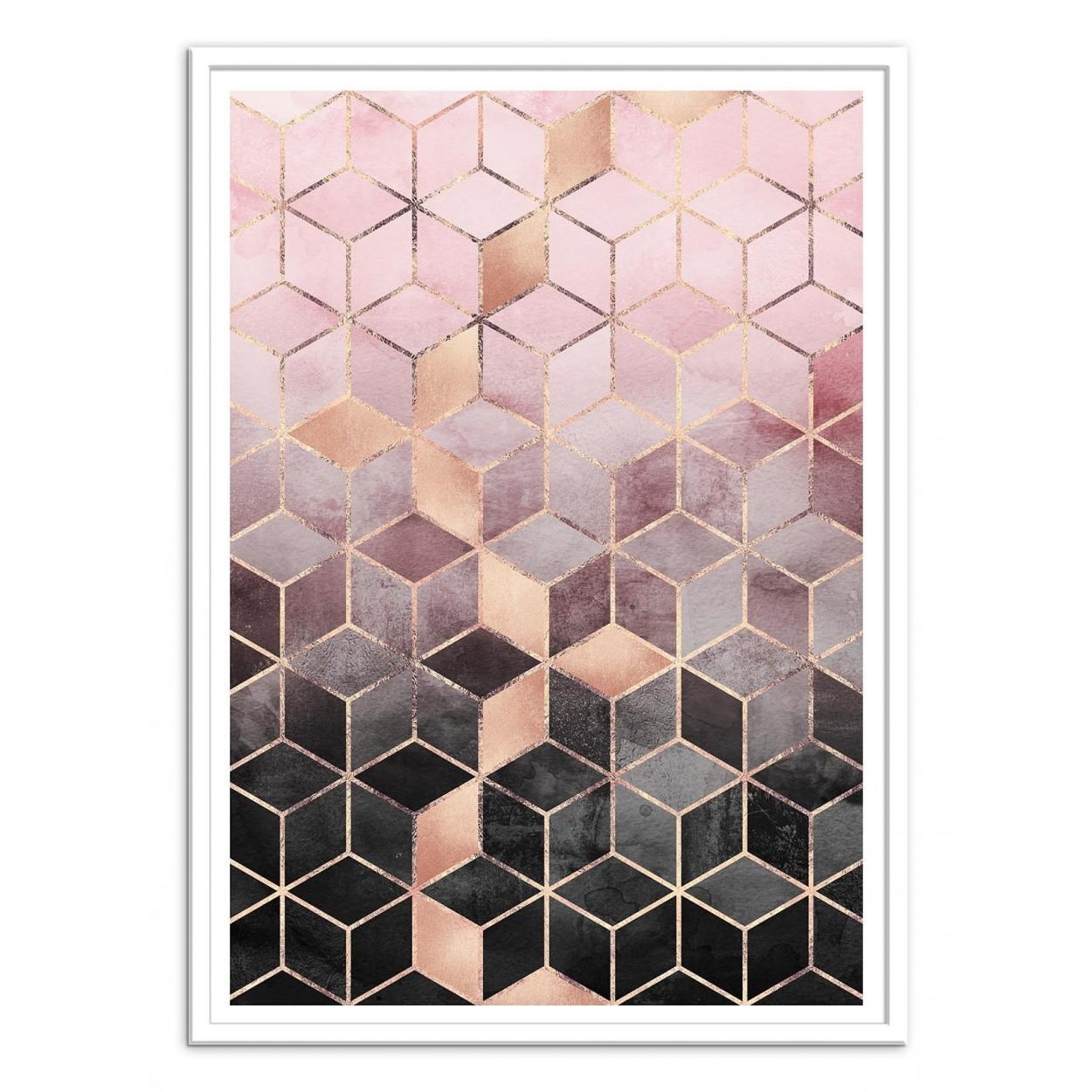 Poster design 50x70 -  Art Poster 50 X 70 Cm Pink Grey Gradient Cubes Elisabeth Fredriksson