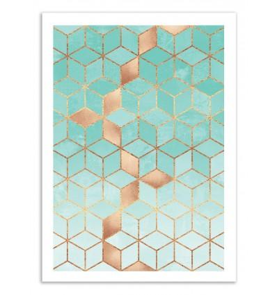 Art-Poster 50 x 70 cm - Soft Gradient Cubes Aquamarine - Elisabeth Fredriksson