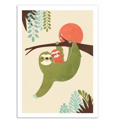 Art-Poster 50 x 70 cm - Mama Sloth - Jay Fleck