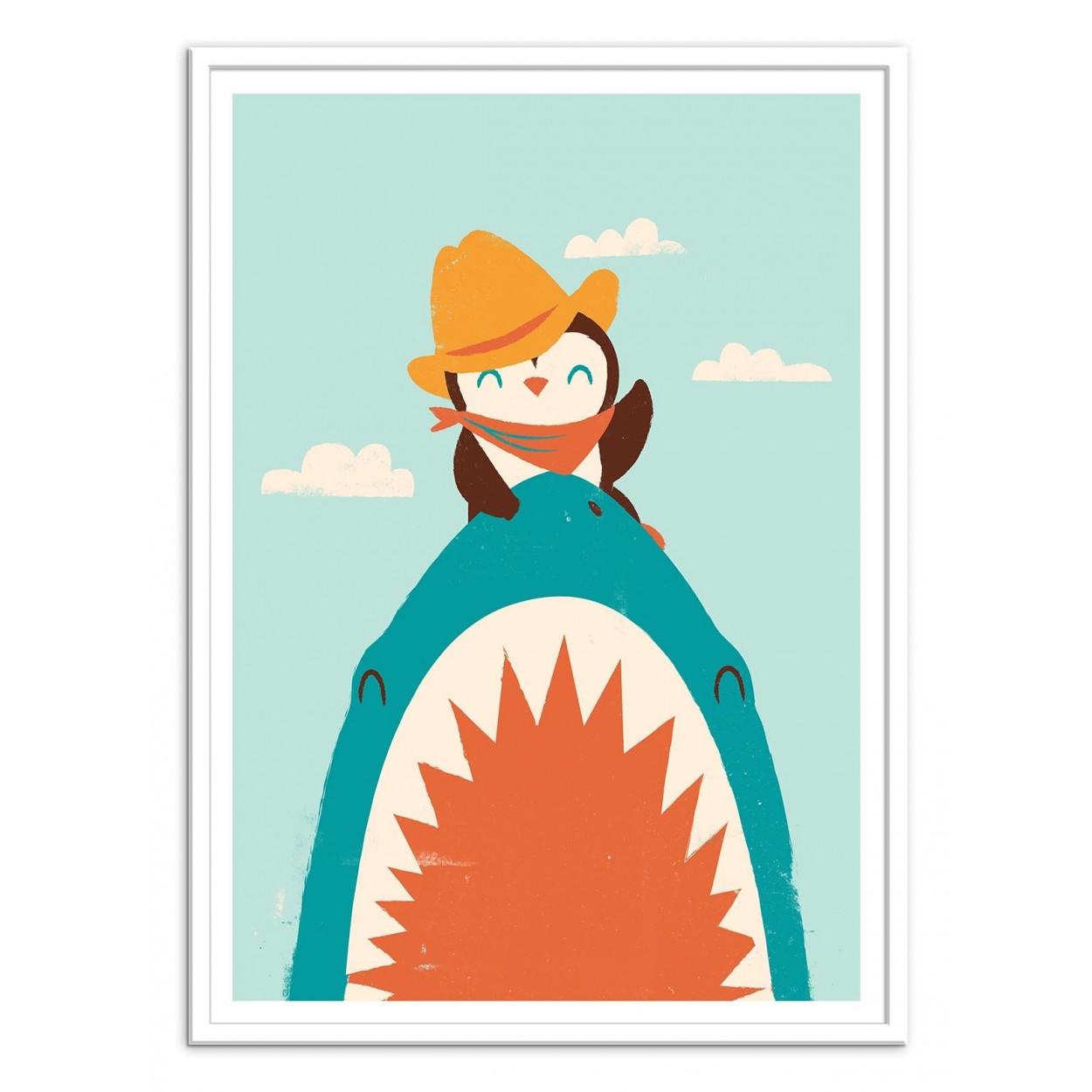 affiche art poster print frame jay fleck baby pinguin shark jaws kid child illustration digital. Black Bedroom Furniture Sets. Home Design Ideas
