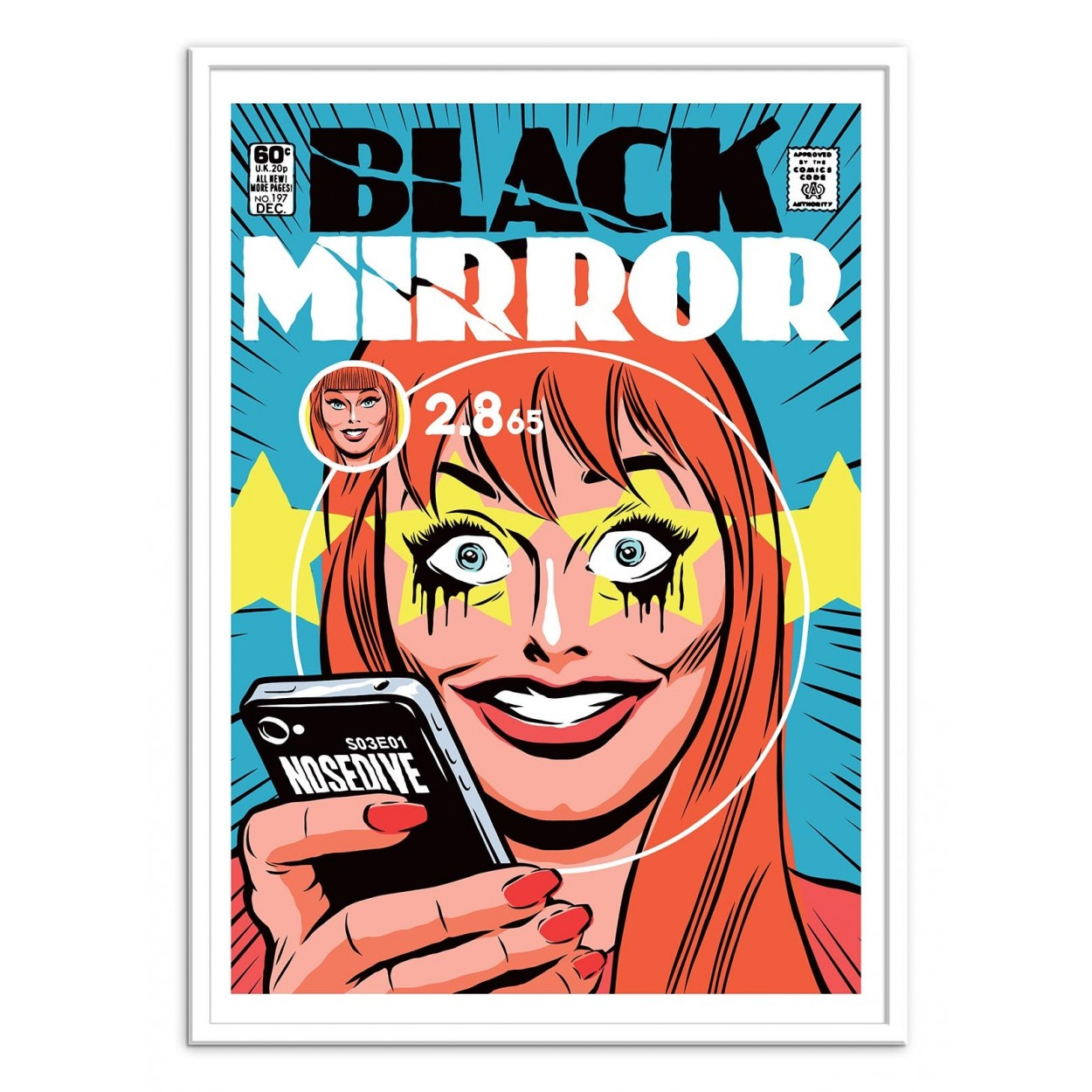 Illustration art poster frame and print of black mirror for Miroir 50 x 70 cm