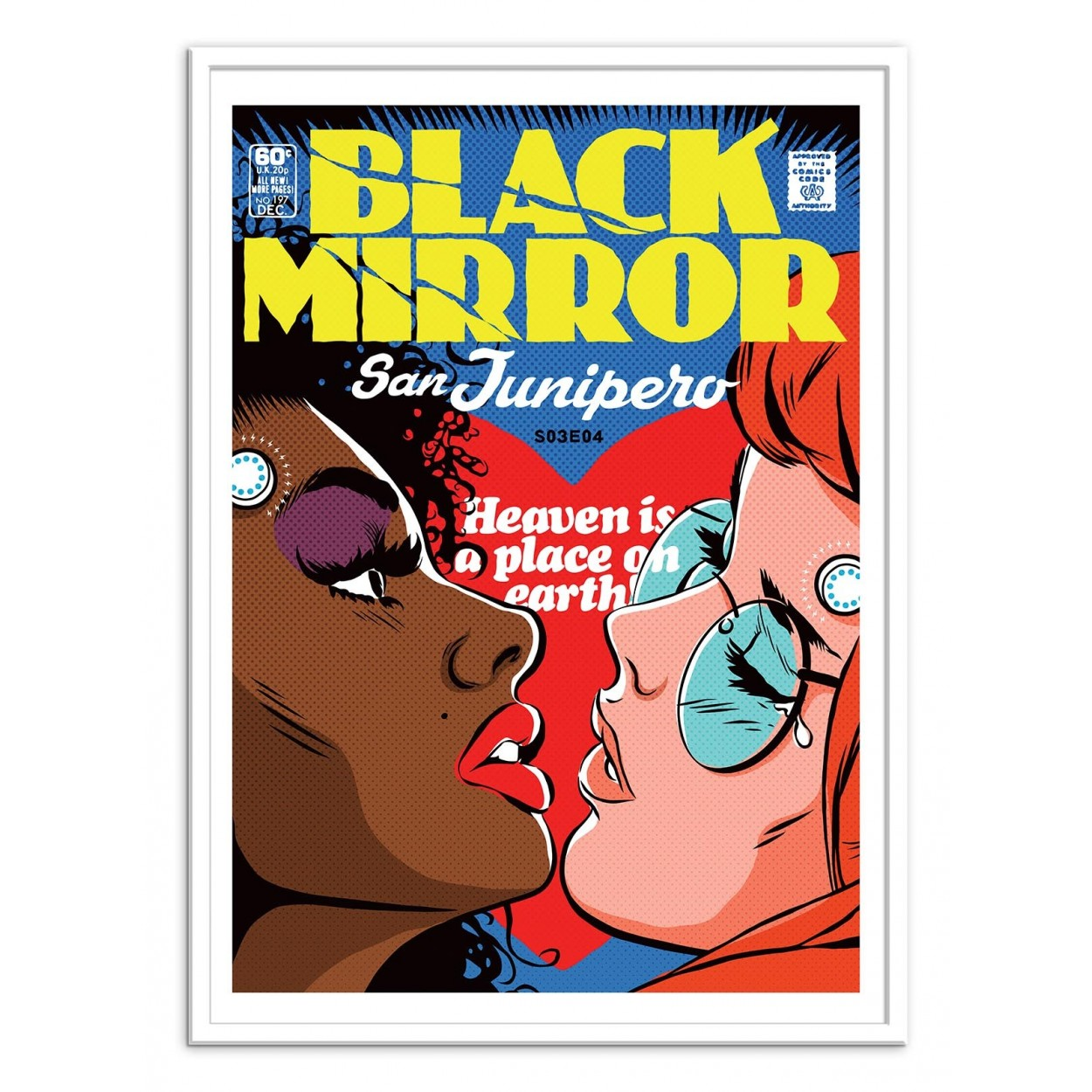 Illustration art poster frame and print of black mirror for Bureau 70 x 50