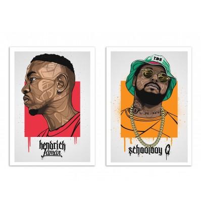 2 Art-Posters 30 x 40 cm - Duo Kendrick Schoolboy Portraits - Bokkaboom