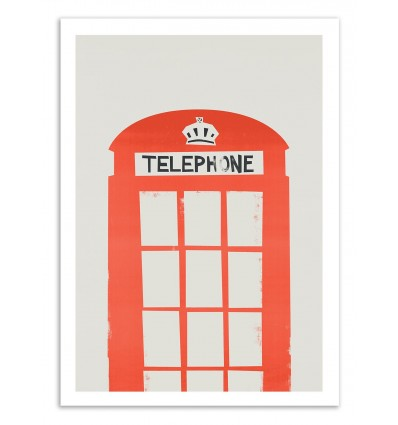 Art-Poster 50 x 70 cm - Red Telephone Box - Fox and Velvet