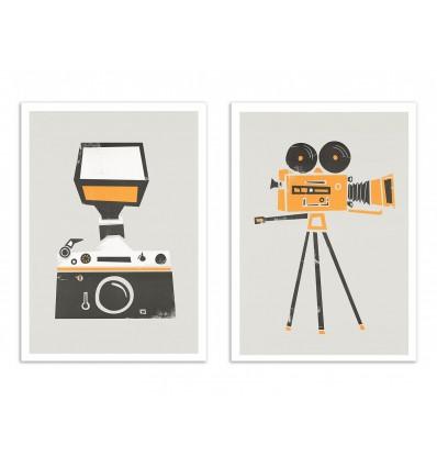 2 Art-Posters 30 x 40 cm - Duo vintage cameras - Fox an Velvet