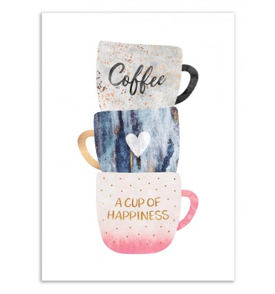 Art-Poster 50 x 70 cm - A cup of Happiness - Elisabeth Fredriksson