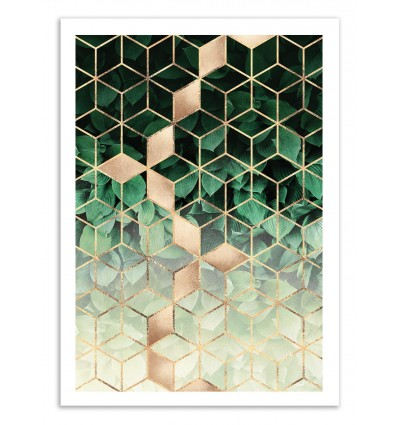 Art-Poster 50 x 70 cm - Leaves and cubes - Elisabeth Fredriksson