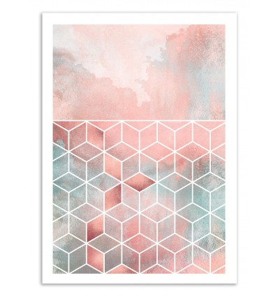 Art-Poster 50 x 70 cm - Rose clouds and cubes - Elisabeth Fredriksson