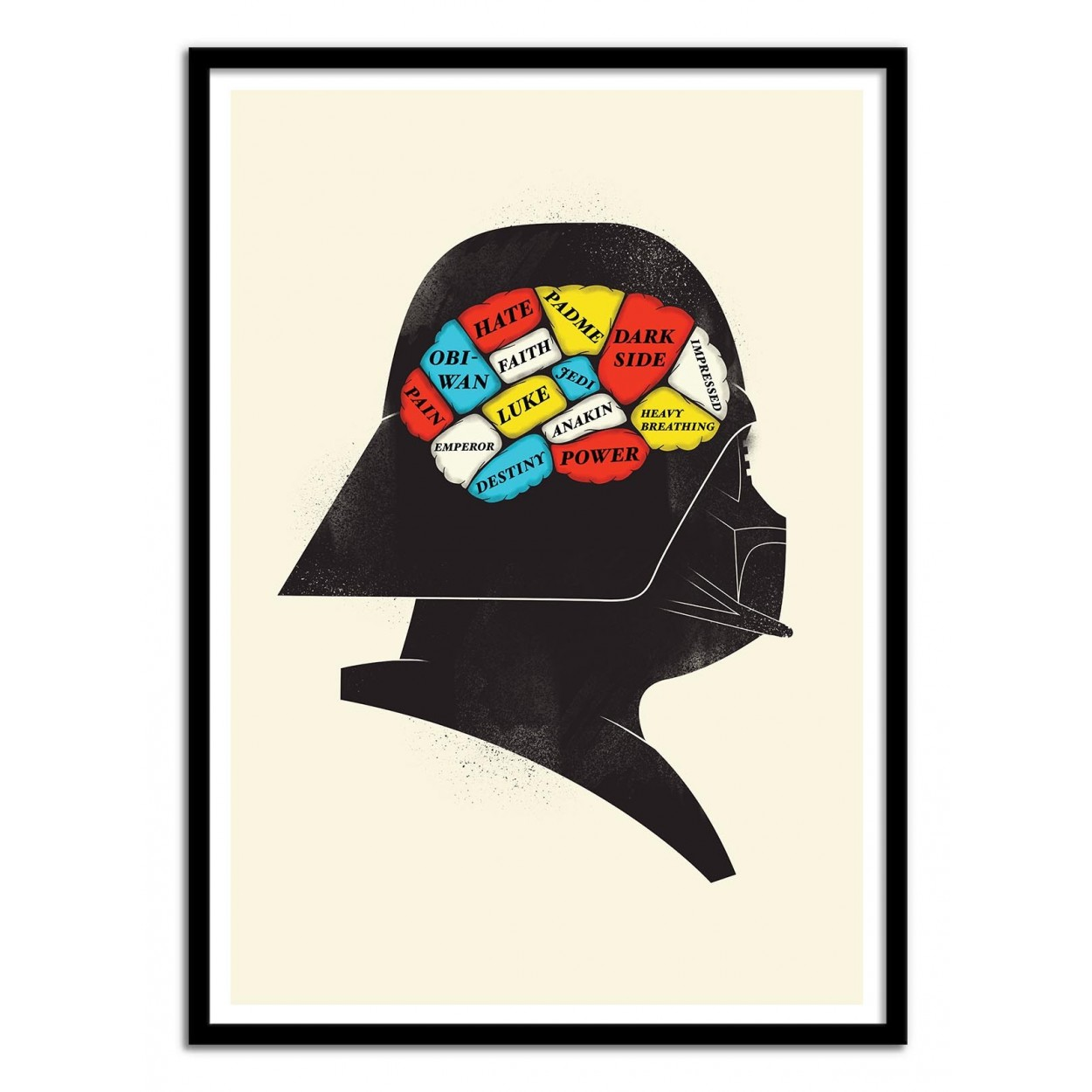 Illustration Art Poster, frame, geek print of Star wars Vador\'s brain