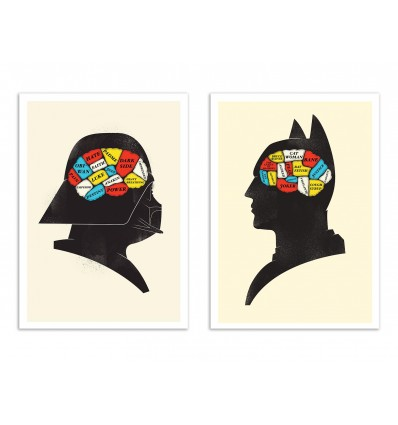 2 Art-Posters 30 x 40 cm - Duo Vador and Batman Phrenology - Chris Wharton