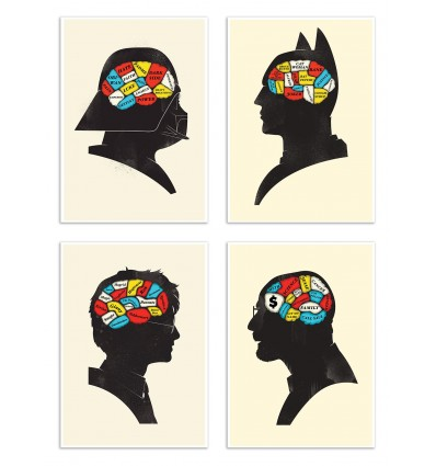 4 Art-Posters 20 x 30 cm - Pack Heroes Phrenology - Chris Wharton