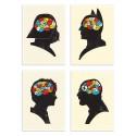 4 Art-Posters 20 x 30 cm - Pack Heroes Phrenology - Chris Wharton