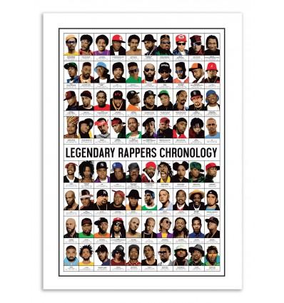 Art-Poster 70 x 100 cm - Legendary Rappers Chronology - Olivier Bourdereau