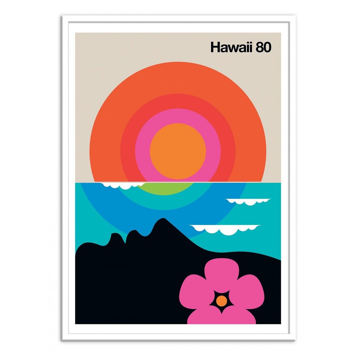 affiche art poster et decoration de hawaii en style design retro. Black Bedroom Furniture Sets. Home Design Ideas