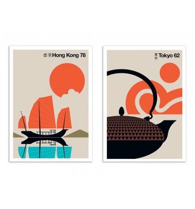 2 Art-Posters 30 x 40 cm - Duo Tokyo Hong-Kong 60's - Bo Lundberg