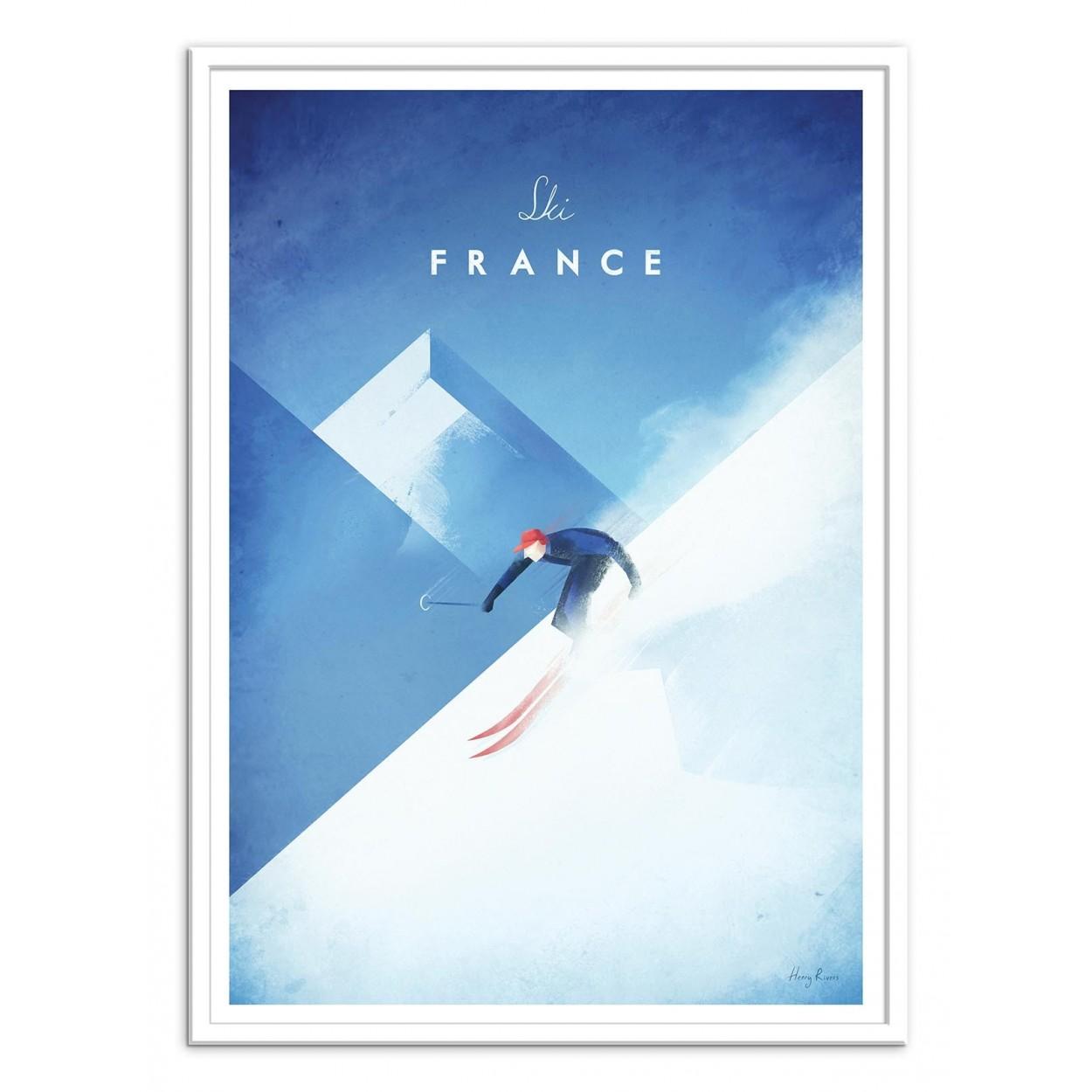 illustration art poster frame and prints of ski mountains en france. Black Bedroom Furniture Sets. Home Design Ideas
