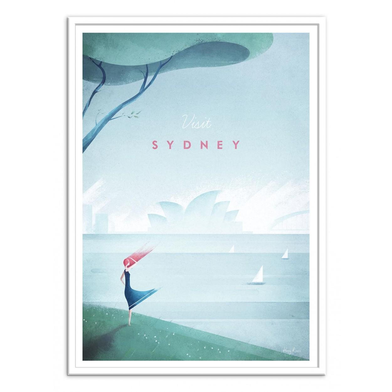 illustration art poster frame and prints of sydney in