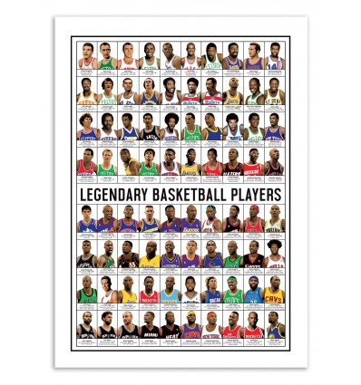 Art-Poster 70 x 100 cm - Legendary Basketball Players - Olivier Bourdereau