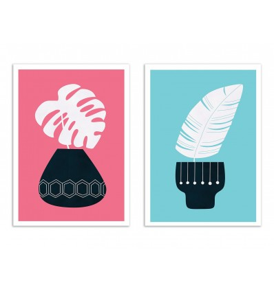 2 Art-Posters 30 x 40 cm - Duo Inker and Flower Pot - Tracie Andrews