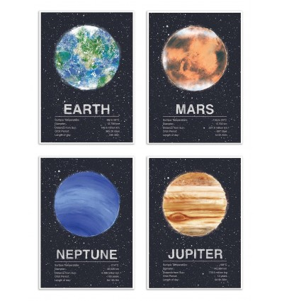4 Art-Posters 20 x 30 cm - Pack 4 planets - Tracie Andrews