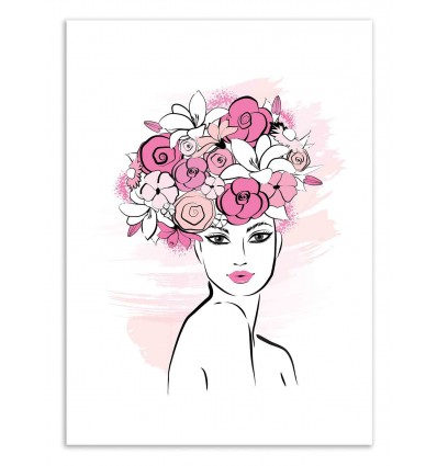 Art-Poster 50 x 70 cm - Face and flowers - Martina Pavlova