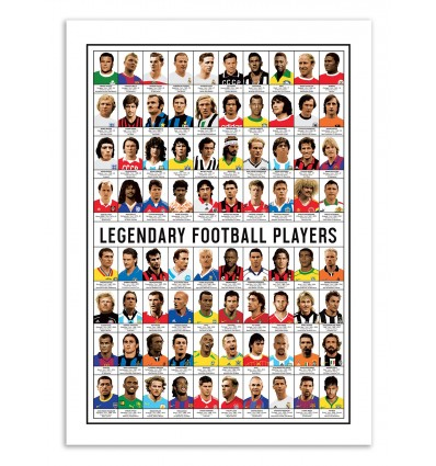 Art-Poster 50 x 70 cm - Legendary Football Players - Olivier Bourdereau