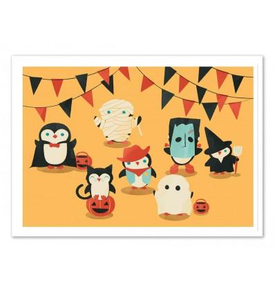 Art-Poster 50 x 70 cm - Penguin Halloween - Jay Fleck