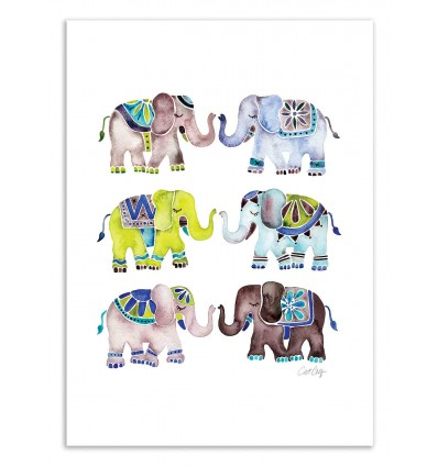 Art-Poster 50 x 70 cm - Elephant Collection - Cat Coquillette