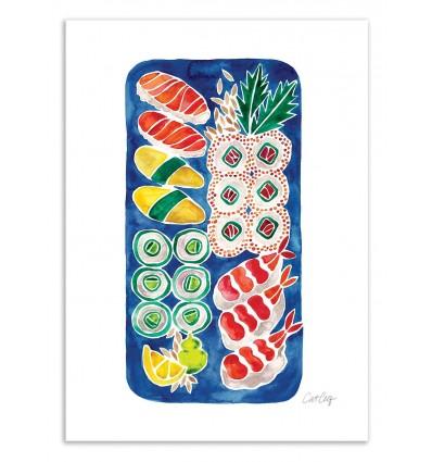 Art-Poster 50 x 70 cm - Sushi Platter - Cat Coquillette