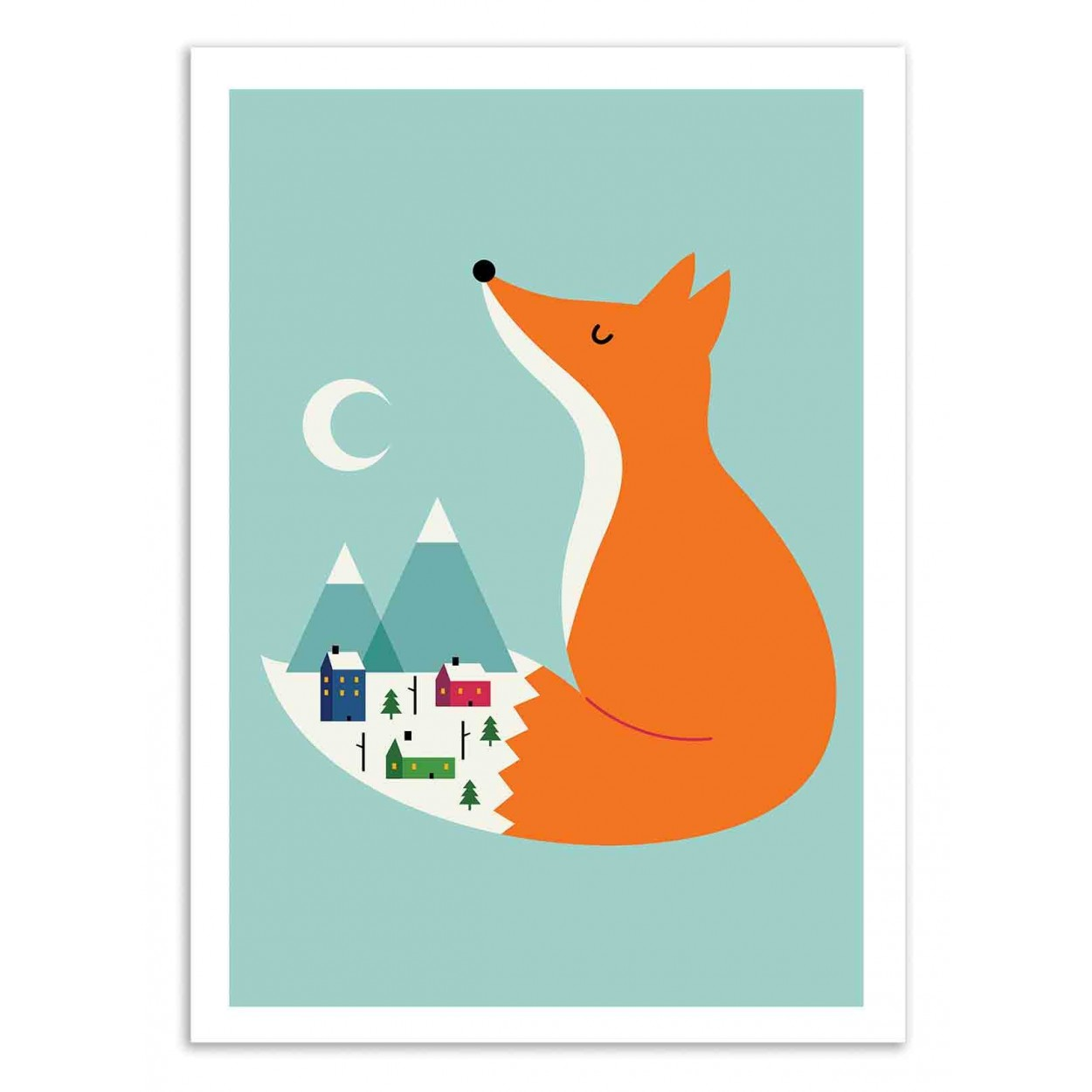 affiche d 39 art et poster illustration dessin d 39 un renard pour bebe. Black Bedroom Furniture Sets. Home Design Ideas
