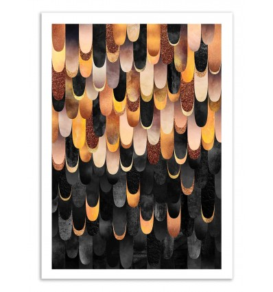Art-Poster 50 x 70 cm - Feather copper and black - Elisabeth Fredriksson