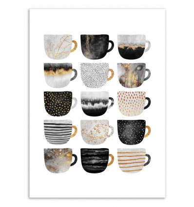Art-Poster 50 x 70 cm - Pretty coffee cups - Grey series - Elisabeth Fredriksson