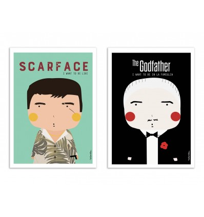2 Art-Posters 30 x 40 cm - Duo Movie Gangsters - Ninasilla