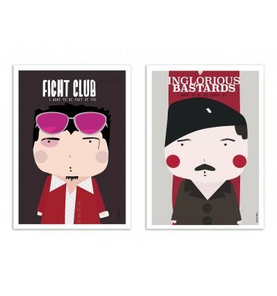 2 Art-Posters 30 x 40 cm - Duo Brad Pitt - Ninasilla