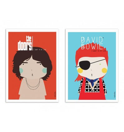 2 Art-Posters 30 x 40 cm - Duo Bowie and Morrison - Ninasilla