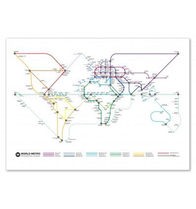 Art-Poster 50 x 70 cm - Plan de métro mondial - Olivier Bourdereau