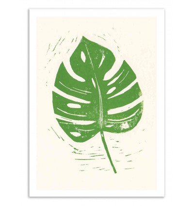 Art-Poster 50 x 70 cm - Linocut Monstera Leaf - Bianca Green
