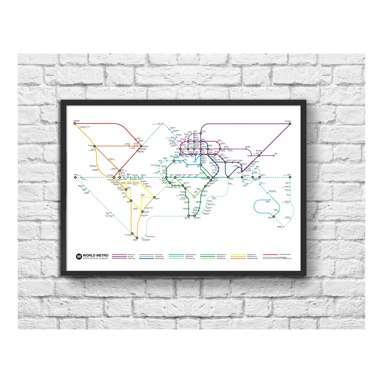 Black And White Subway Map.Poster International Subway Map