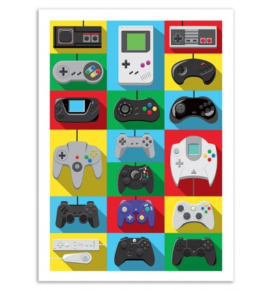 Art-Poster 70 x 100 cm - Legendary Controllers - Olivier Bourdereau