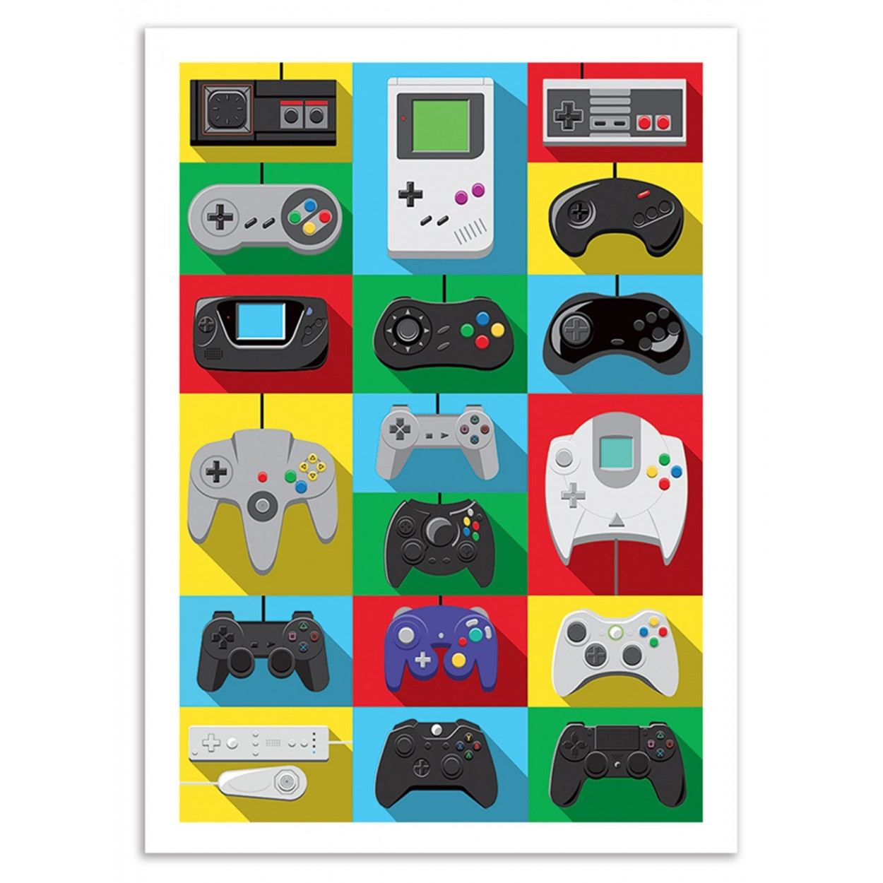 art prints illustrations design of controllers of video games. Black Bedroom Furniture Sets. Home Design Ideas