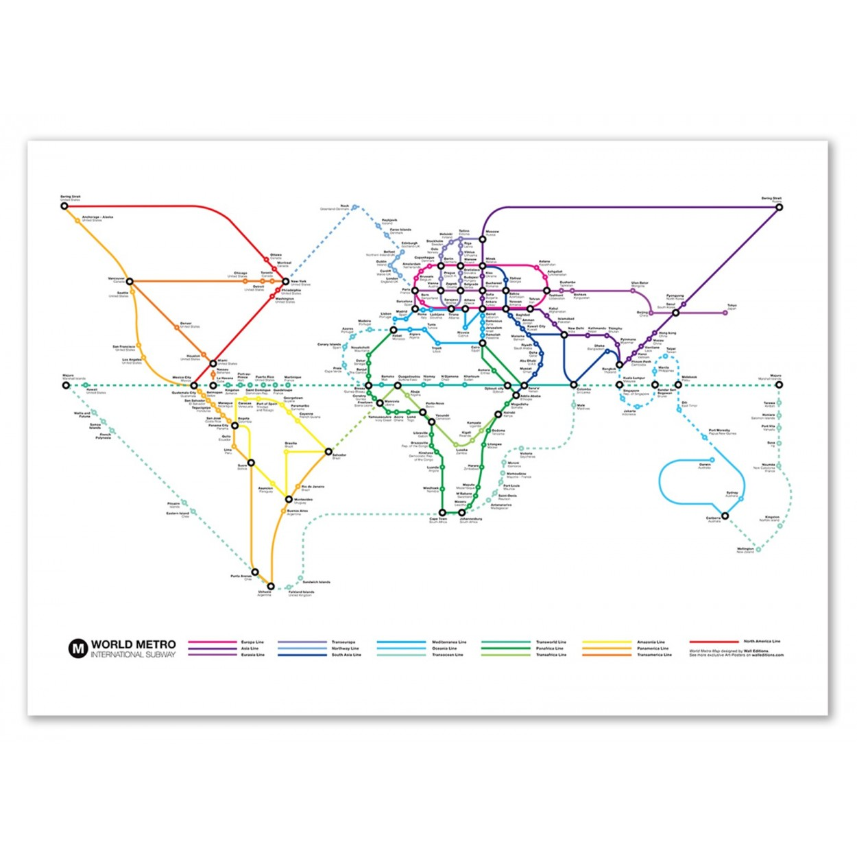 Tokyo Subway Map Framed.Poster Print And Design Of International Subway World Map
