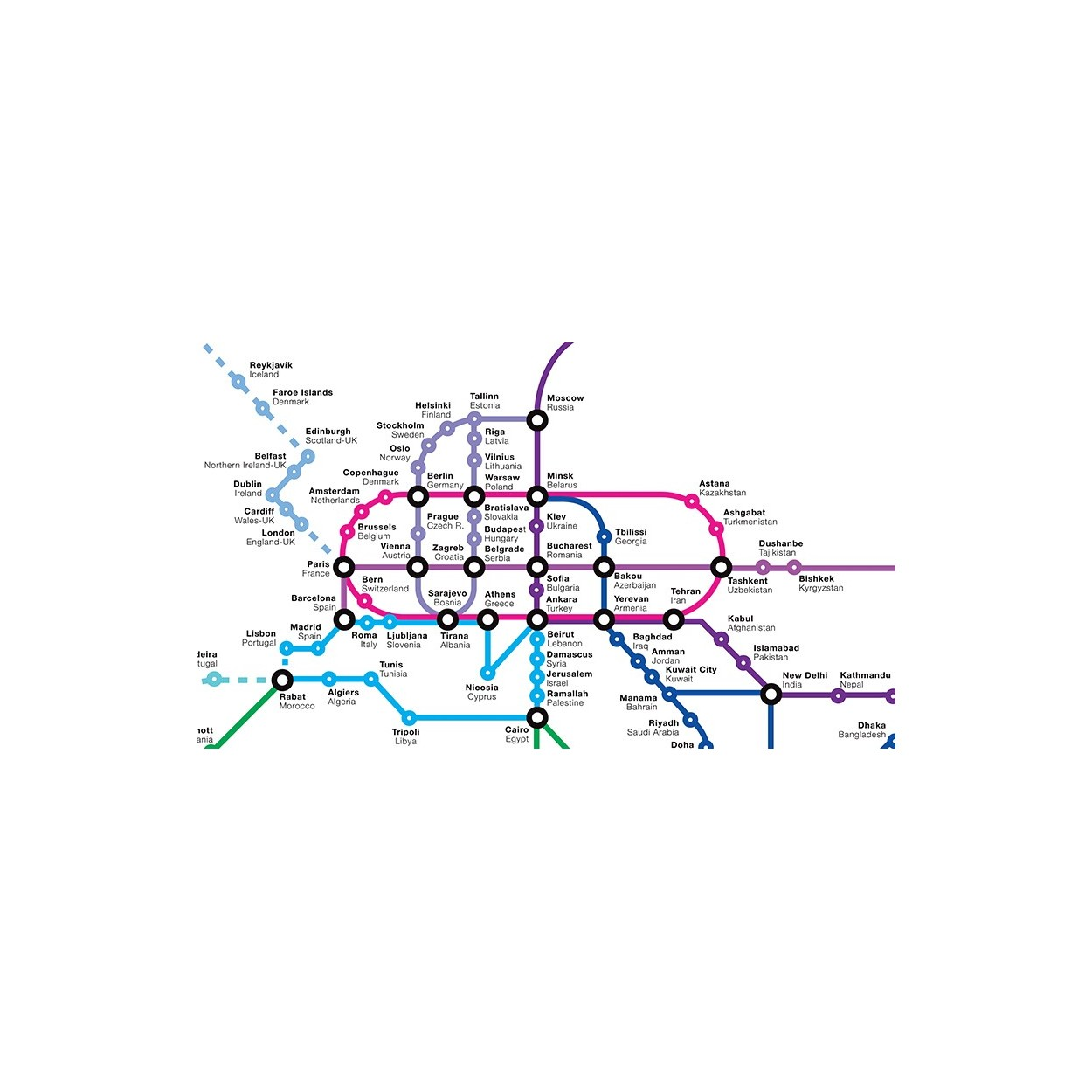 Poster print and design of international subway world map art poster 70 x 100 cm world metro map olivier bourdereau gumiabroncs Images