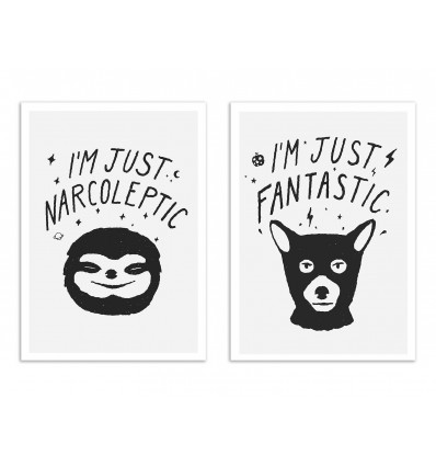 2 Art-Posters 30 x 40 cm - I'm just Fantastic and narcoleptic - Florent Bodart